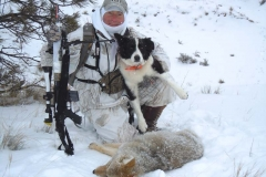 CH403, Mark Kayser and Sage with a winter coyote, copyright Mark Kayser edit