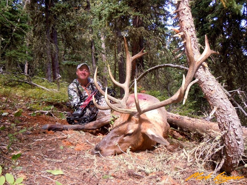 BE556, Mark Kayser with a Wyoming, public-land bull he shot 8 days into his hunt, copyright Mark Kayser edit out