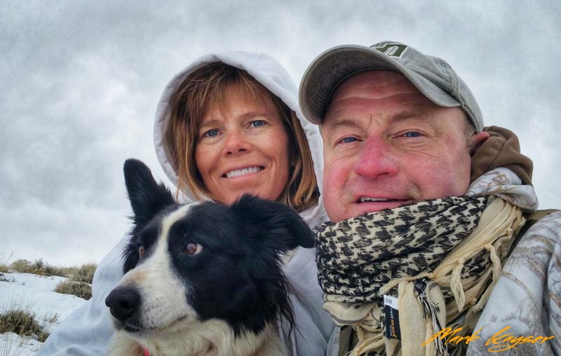 CH, Sharon hunting coyotes with Mark, copyright Mark Kayser