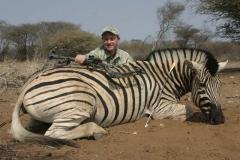 BZH1, Mark Kayser with Burchell's Zebra shot with Cabela's Lazer Pro Supreme broadhead, copyright Mark Kayser