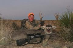 DMH12, Kayser with New Mexico desert mule deer, copyright Mark Kayser edit