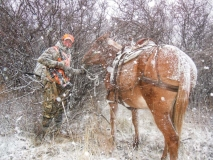 HHS, Horseback hunting in snow, copyright Mark Kayser